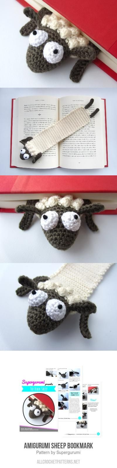 Amigurumi Sheep Bookmark crochet pattern by Supergurumi | Marcadores ...