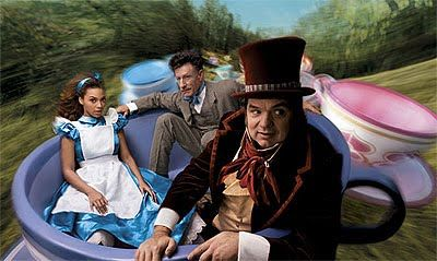 Beyonce as Alice, Oliver Platt as the Mad Hatter, and Lyle Lovett as the March Hare