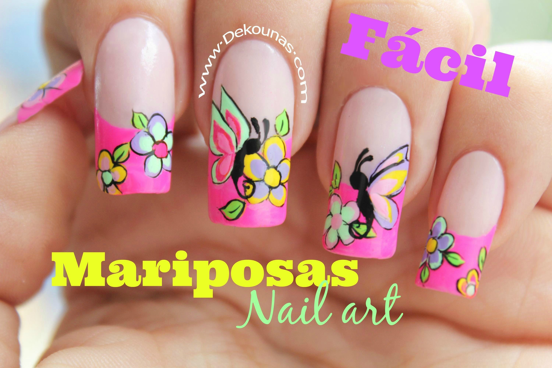 Decoración de uñas FACIL de mariposas y flores - Easy Butterfly nail ...