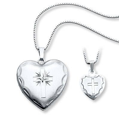 Mother Daughter Necklaces Heart With Cross Sterling Silver