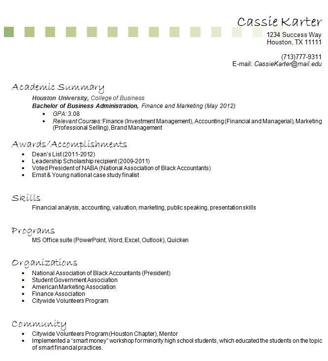 resume without job experience with work samples high school student