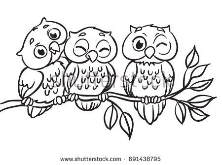 Three owls are sitting on a branch vector illustration outlined for coloring book