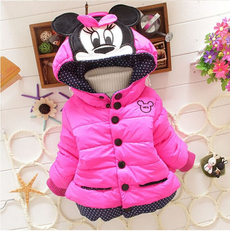 Baby Girls Kids Minnie Mouse Hoody Hoodie Jacket Coat Winter Warm Outerwear 1-4T