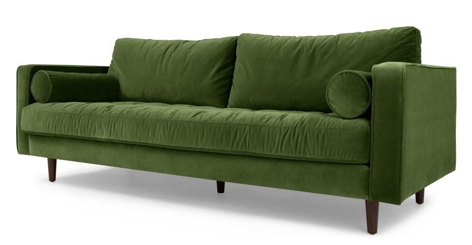 Scott 3 Sitzer Sofa Samt In Grasgrun Boho Eclectic Colorful