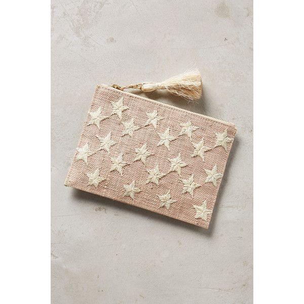 Kayu Estrella Pouch featuring polyvore, women's fashion, bags, handbags, clutches, neutral, pouch purse, straw clutches, white purse, kayu and zipper purse