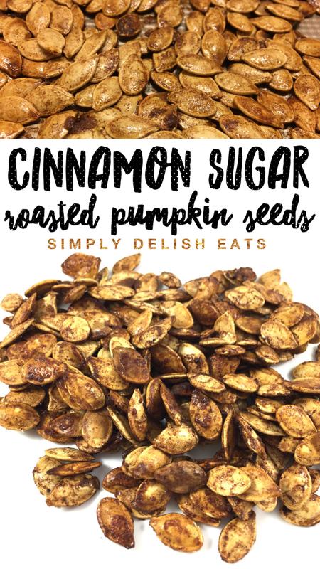 Cinnamon Brown Sugar Roasted Pumpkin Seeds. #pumpkinseedsrecipe