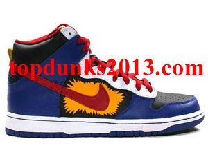 low priced 33c5f db053 Pro Boom Comic Red Blue Yellow Nike SB Dunk High Top Free Shipping