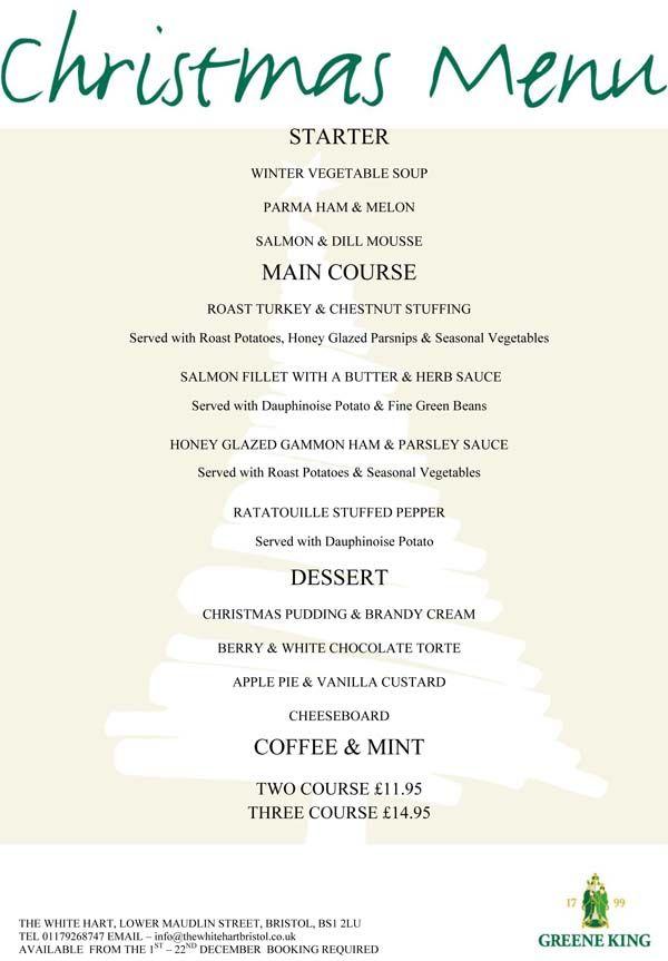 menu for a christmas party
