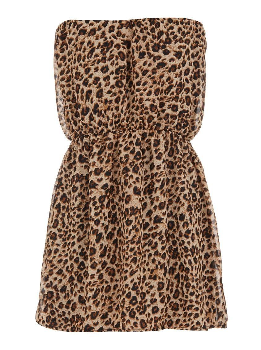 Leopard print boob tube dress