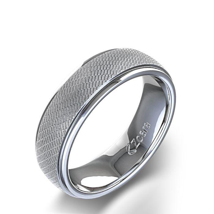 unique rings Unique Mens Wedding Ring in 14k White Gold