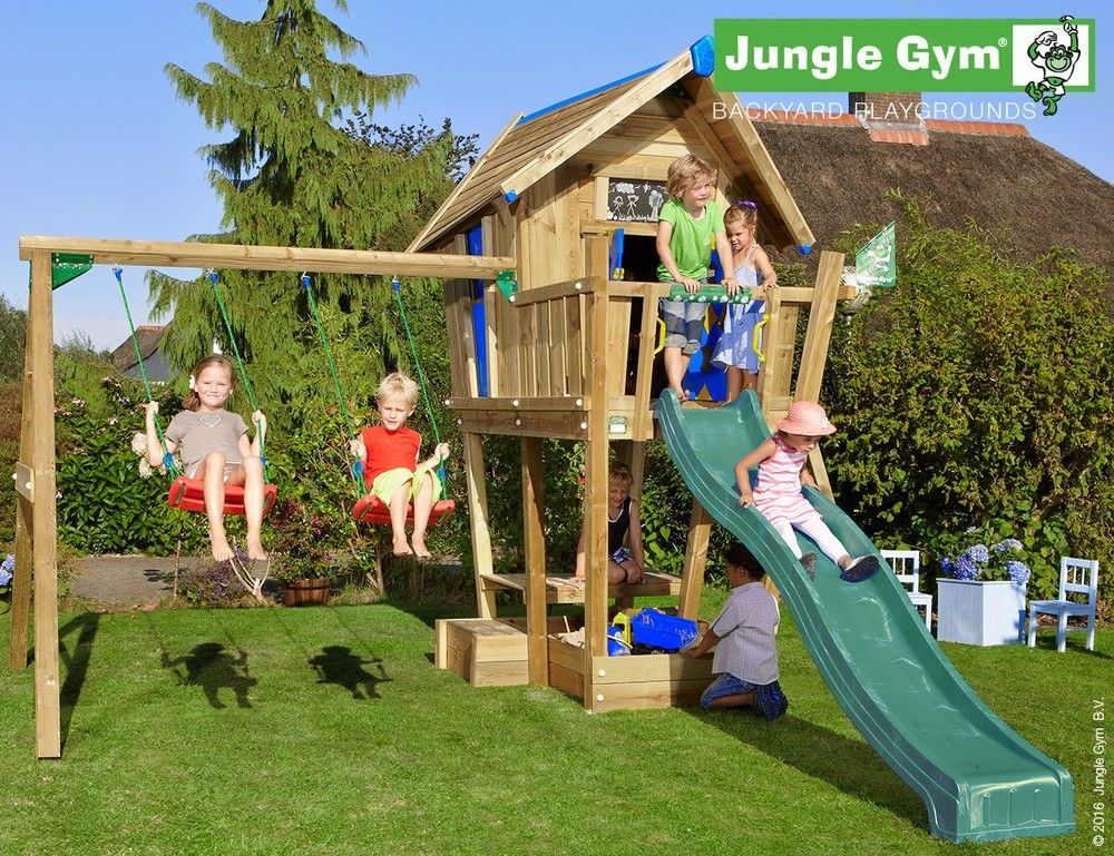 wooden swings and slides crazy playhouse 2 swing xtra | Garden ...