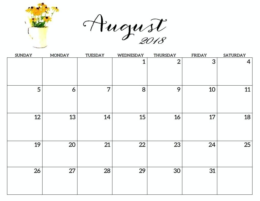 photograph relating to Pretty Printable Calendar referred to as August Printable Calendar 2018 Totally free Editable Calendar
