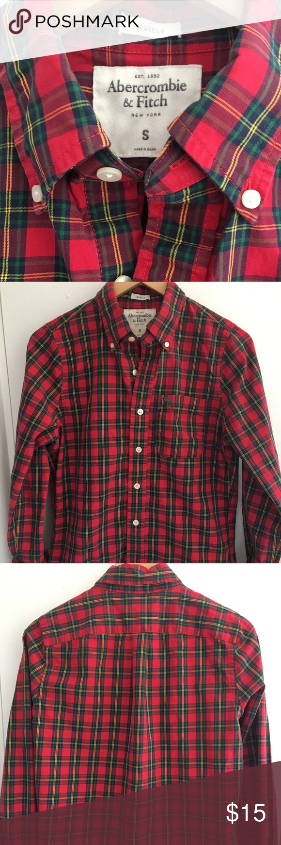 Abercrombie   Fitch Red Plaid Button Up • Red   green cotton plaid button  up • 7443eb23b