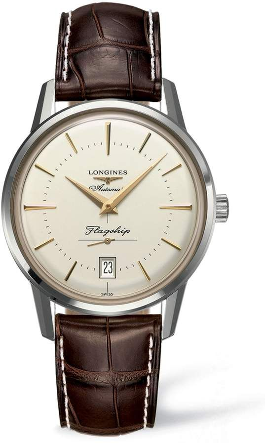 454d9792077 Longines Flagship Heritage Automatic Leather Strap Watch