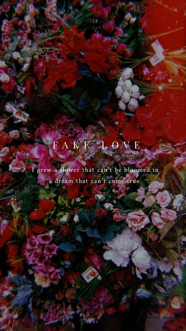 BTS Fake Love lyrics wallpaper (red ver.) on We Heart It