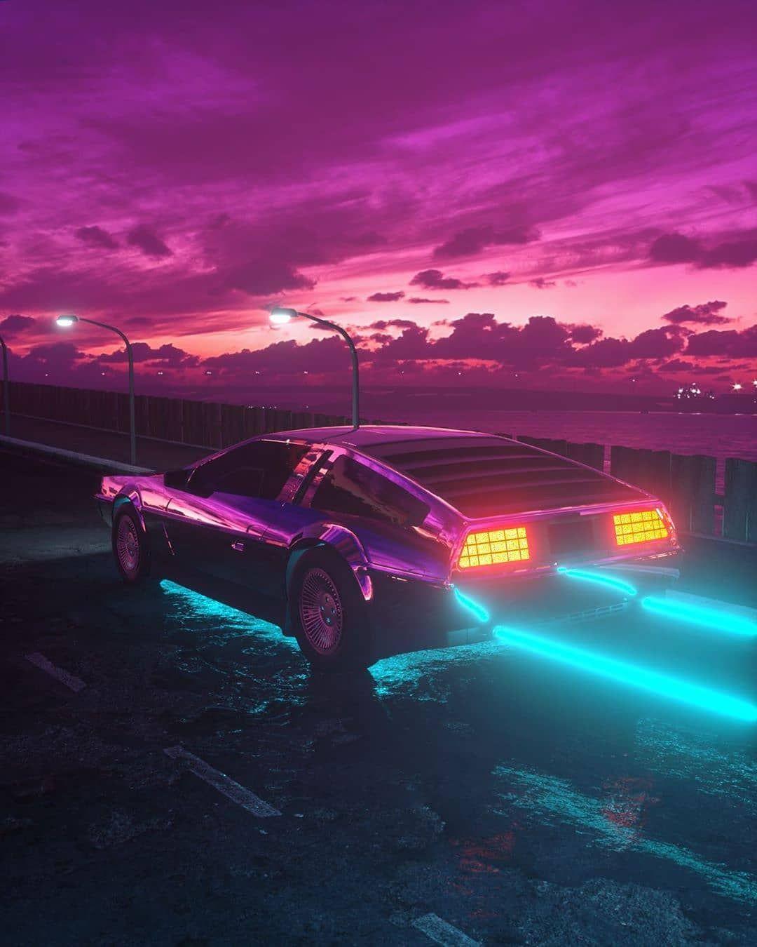 D R E A M R I D E R Gufe Visuals Synthwave 80s Retro Newretrowave 1980s Vintage Newwave Eighties Neon Cybe Neon Car Vaporwave Neon Noir