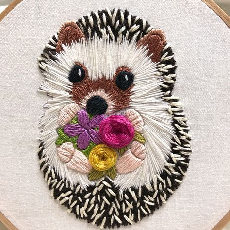 "Amy Byrne on Instagram: ""I am having so much fun stitching this little hedgehog! I'm almost finished...just need to add some shading to Pippi's fur (I've named her…"""