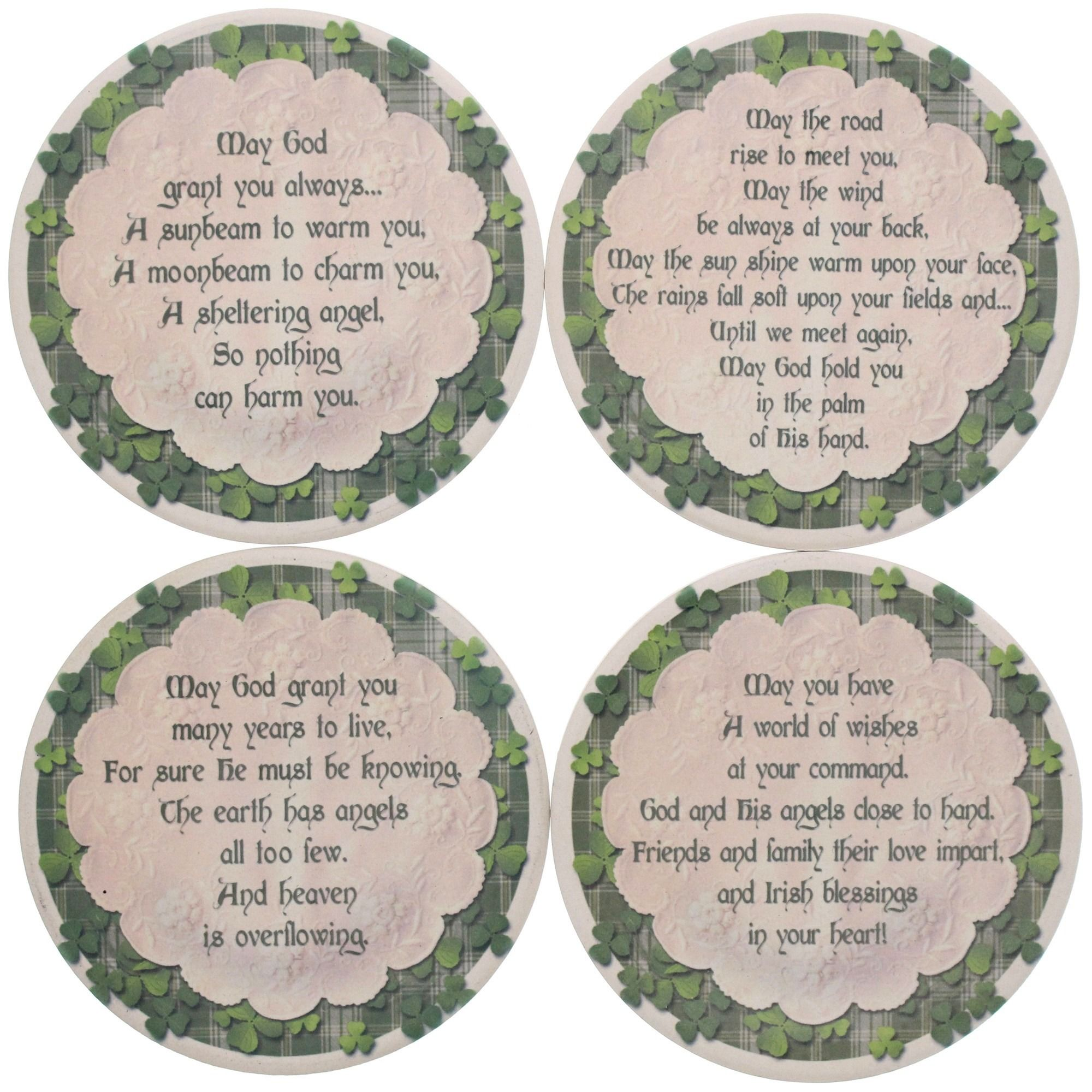 Irish Blessings Sandstone Coasters | The Catholic Company - Cut from natural, solid sandstone and fitted with a no-slide, no-scratch cork backing.