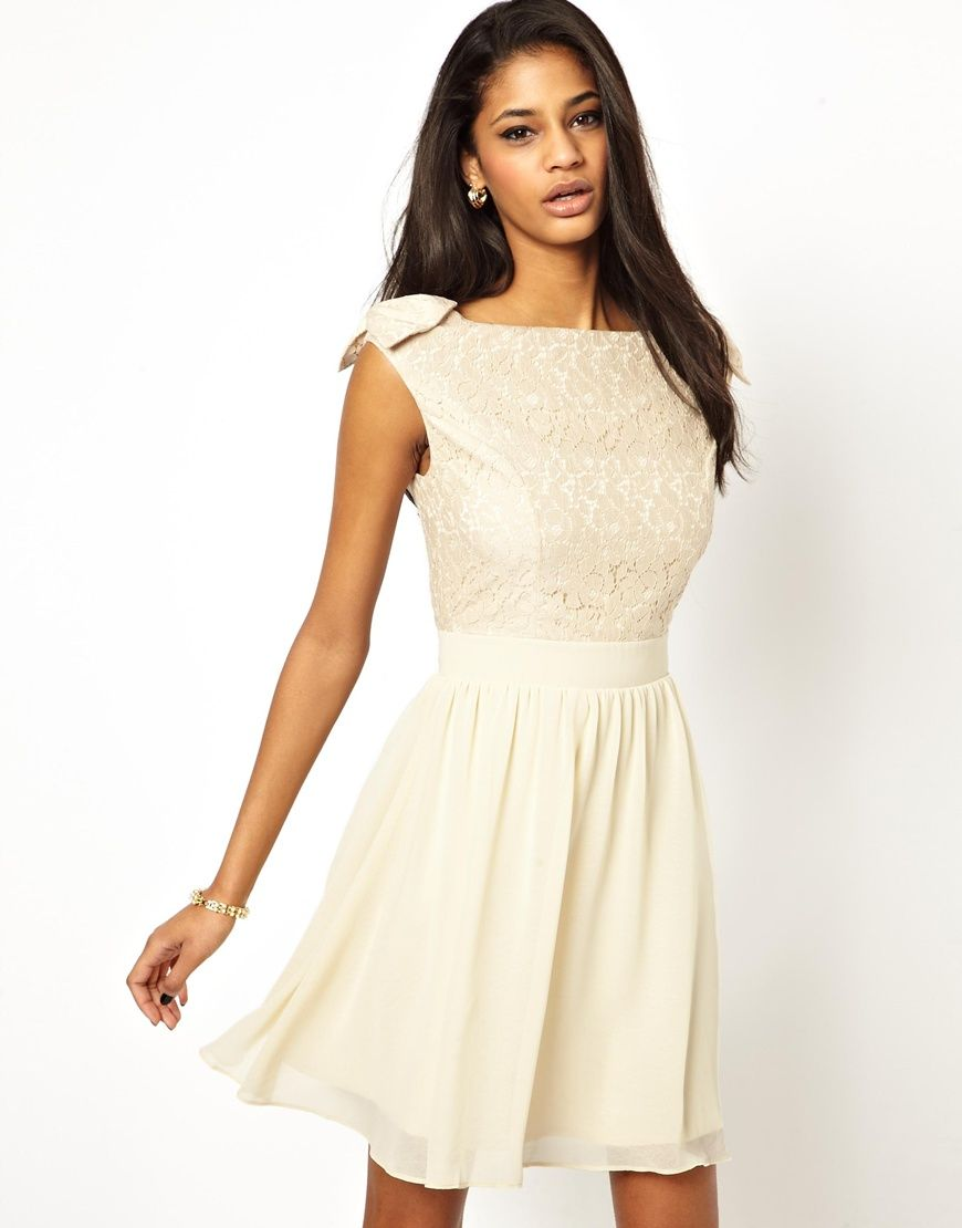 Little mistress prom dress with lace bardot top bridesmaid dresses