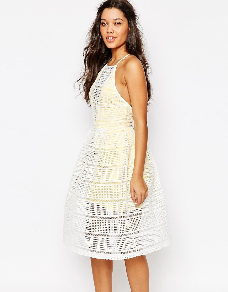 Missguided grid lace prom dress with contrast lining clothes