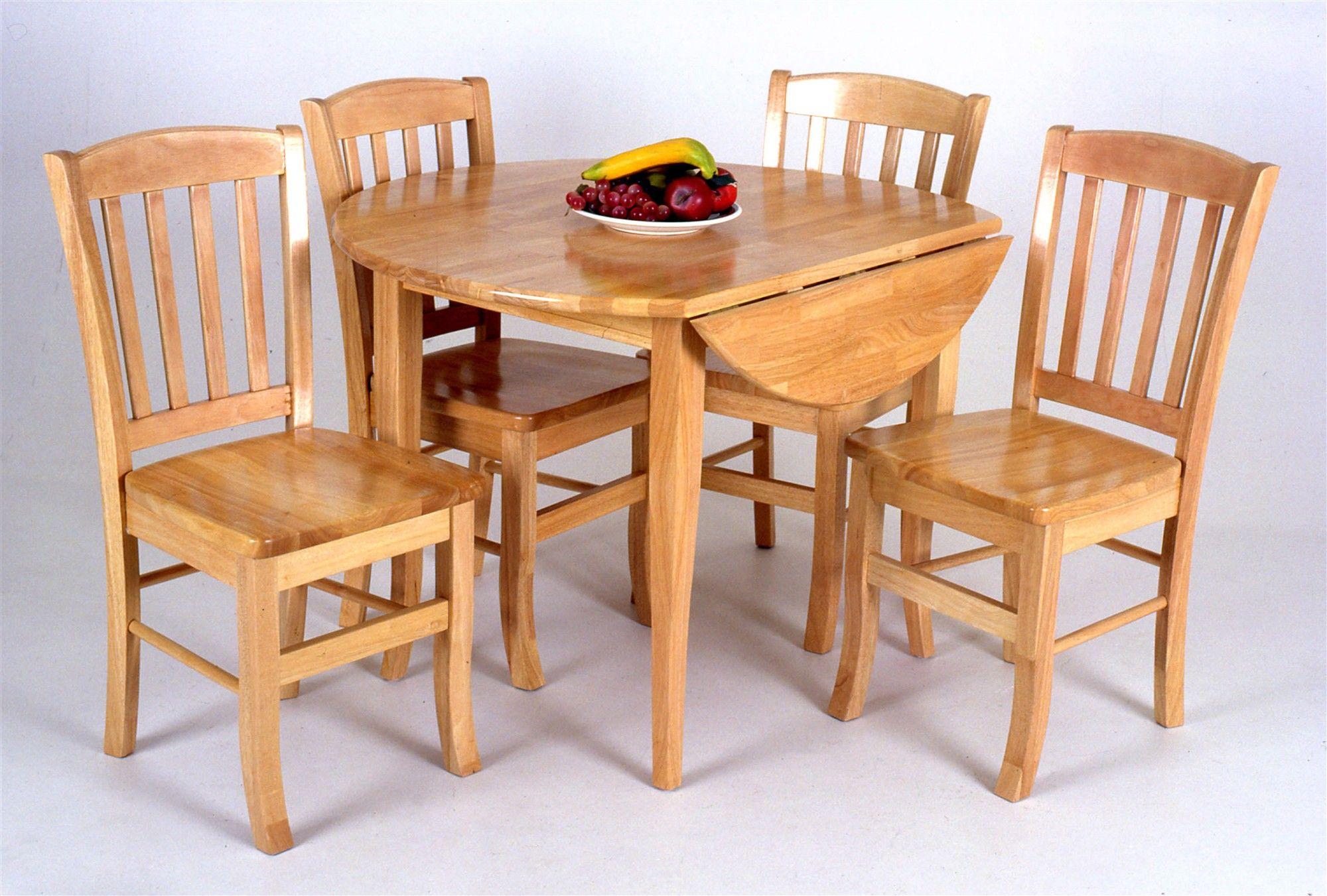 Oak Drop Leaf Dinette Sets Solid Wood Round Drop Leaf Table W Slat - Solid wood dinette table