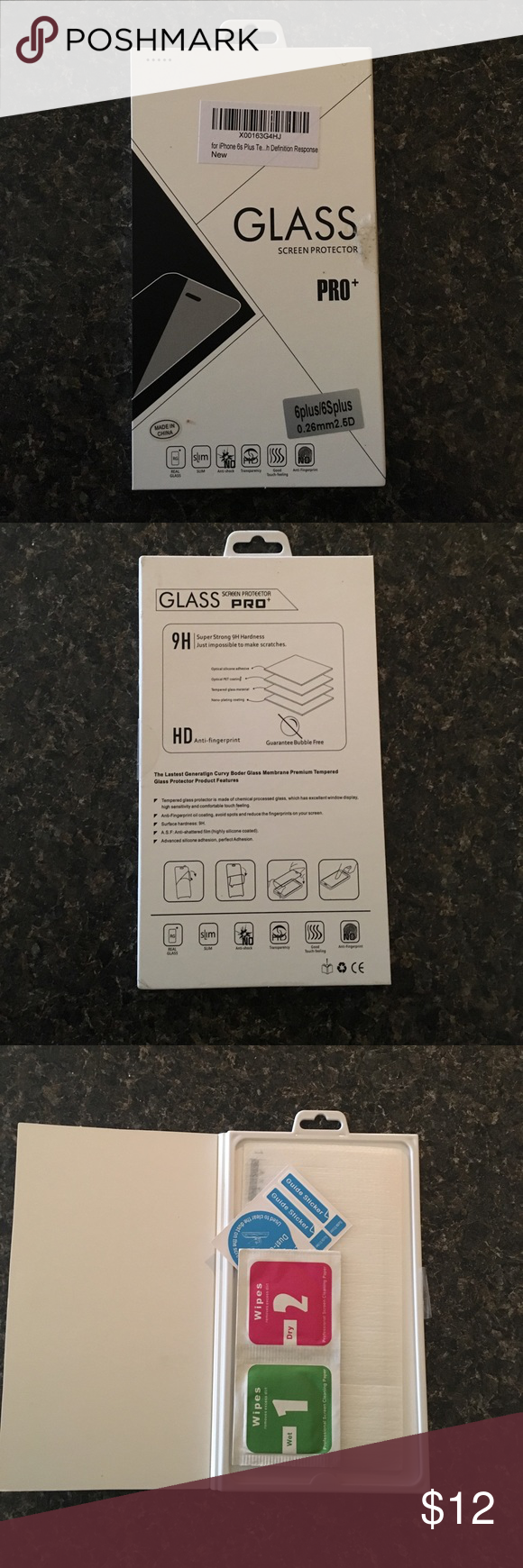 Glass Screen Protector for iPhone 6 Plus Glass screen protector for iPhone 6 Plus and 6s plus! I bought the wrong size so it is brand new. Just trying to get my money back Accessories Phone Cases