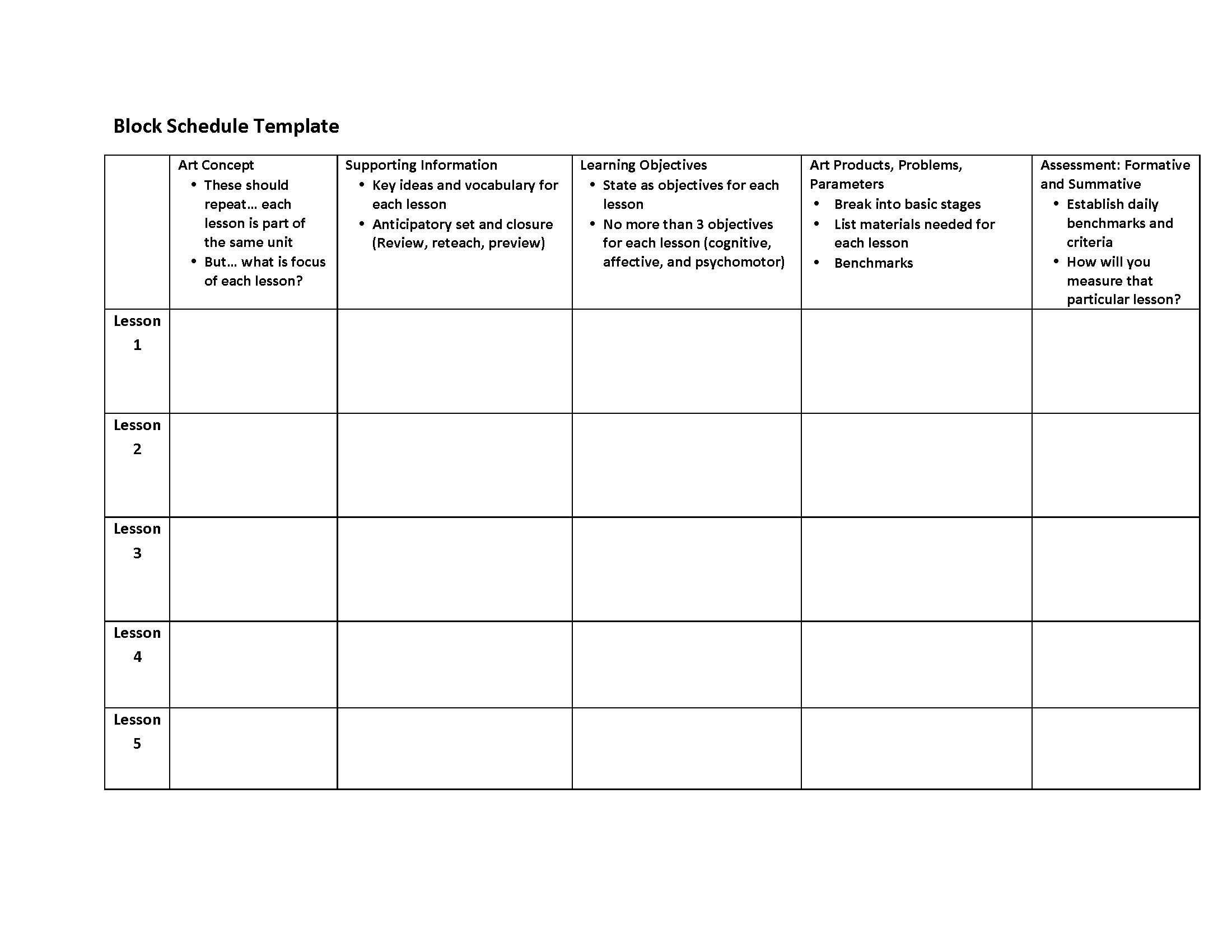 """Block Scheduling Lesson Plan Template This is """"block Plan"""