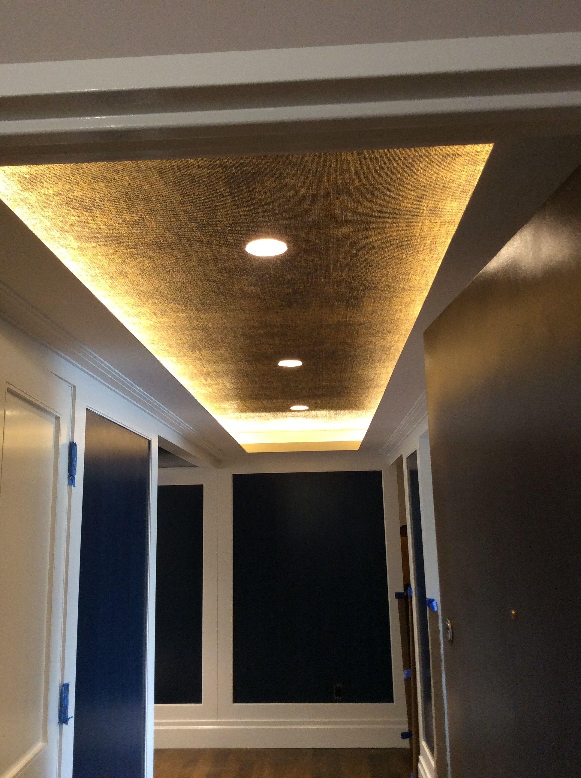 Blog Archive Gold Leafed Burlap Gold Ceiling Teal Living Room