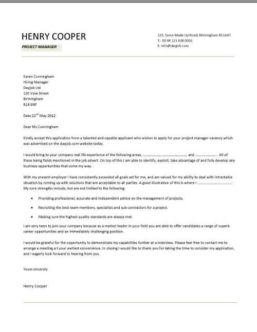 Cover letter examples, template, samples, covering letters, CV - an example of a cover letter