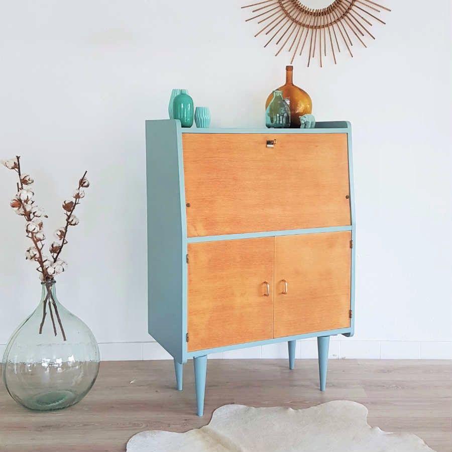 Secr taire design r tro bleu bois vintage r nov papier peint graphique mi - Papier peint vintage bleu ...