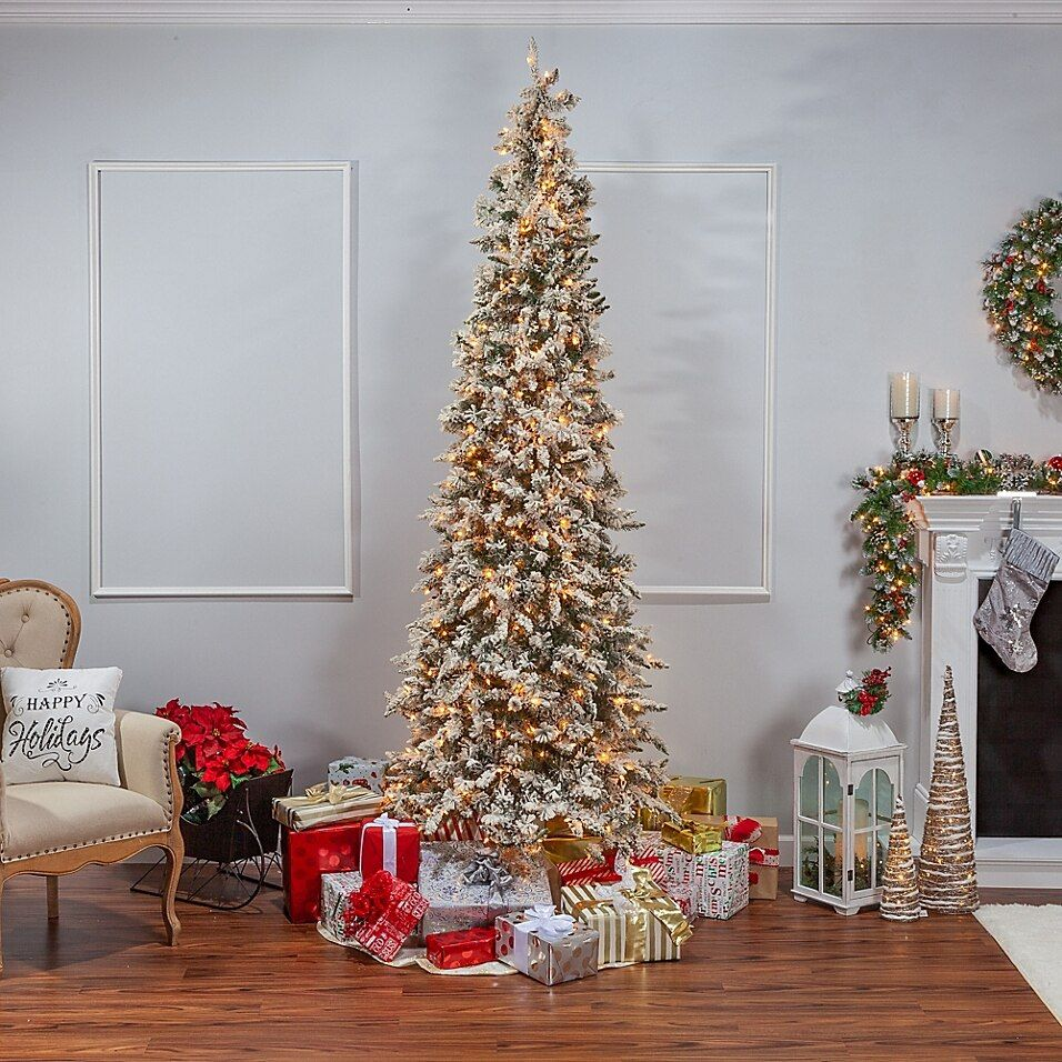 9 Foot Narrow Flocked Barrington Artificial Pencil Pine Tree With 650 Clear Lights Bed Bath Beyond Pencil Christmas Tree Cool Christmas Trees Christmas Tree Themes