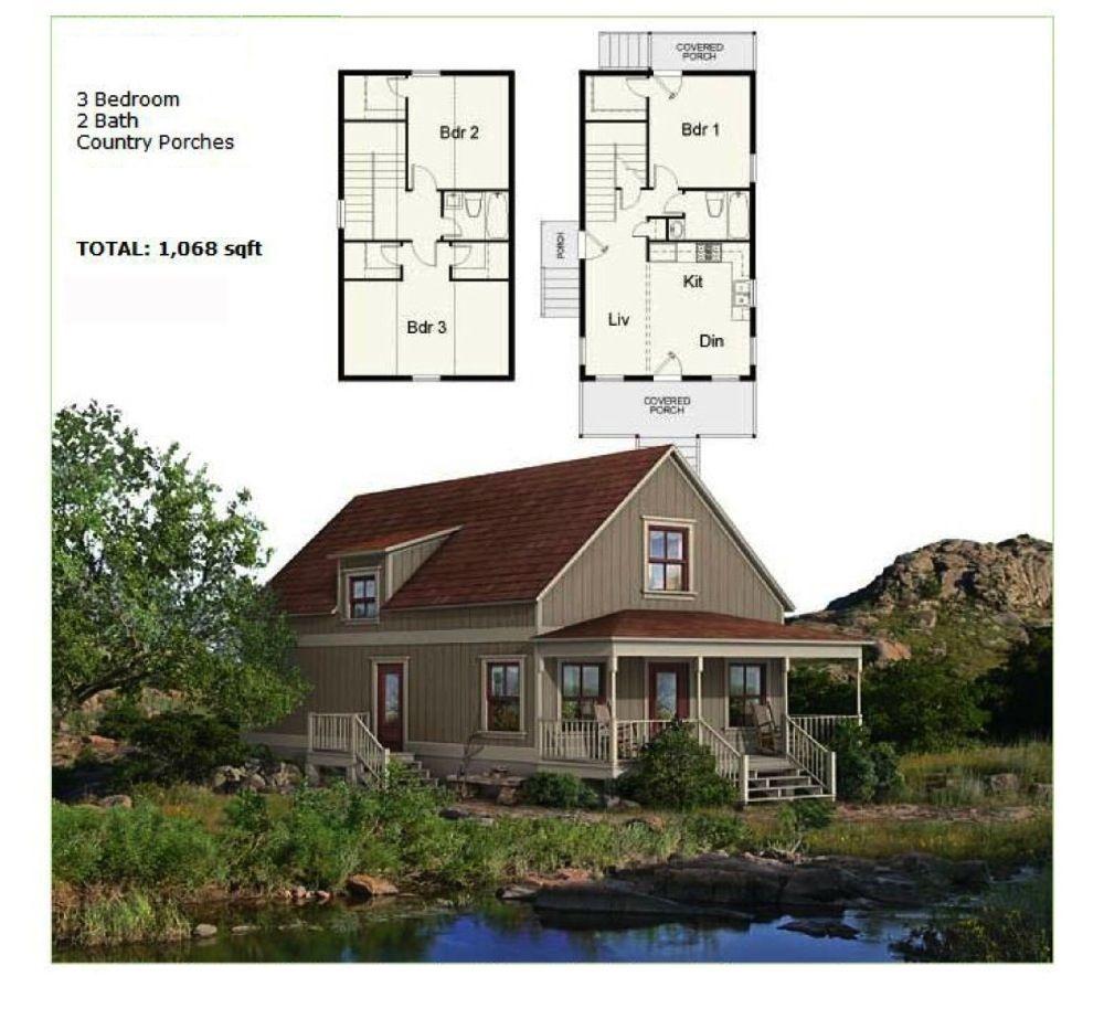 Prefab Homes Panelized Framing Kit NS1842 896 sqft 3BR 2BA DIY ...