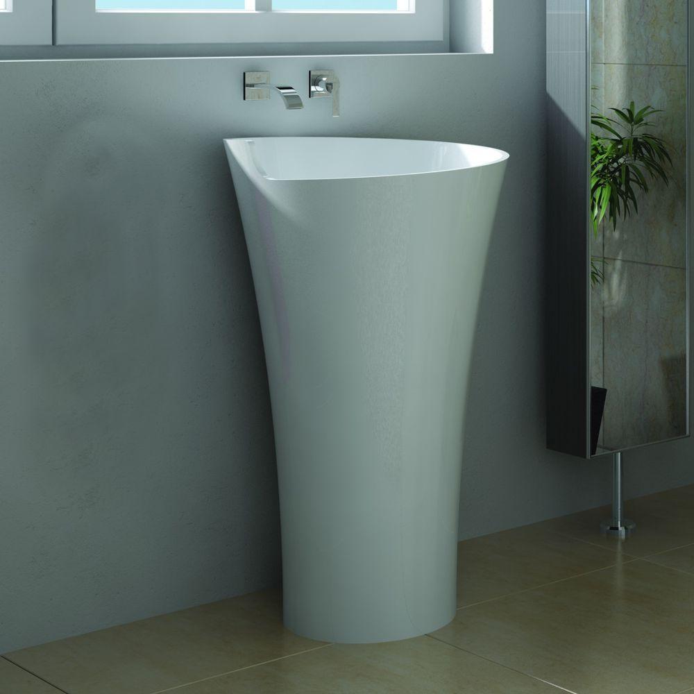 Free Standing Solid Surface Stone Modern Pedestal Sink 21 X 21 Inch    DW 103 | Home U0026 Garden, Home Improvement, Plumbing U0026 Fixtures | EBay!