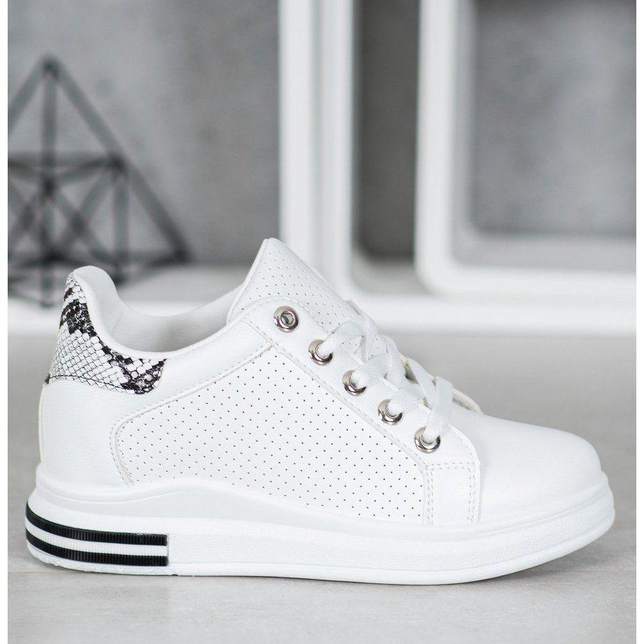 Shelovet Azurkowe Buty Z Ukryta Koturna Biale Ankle Strap Chunky Heels Chunky Heels Wedding Sneaker
