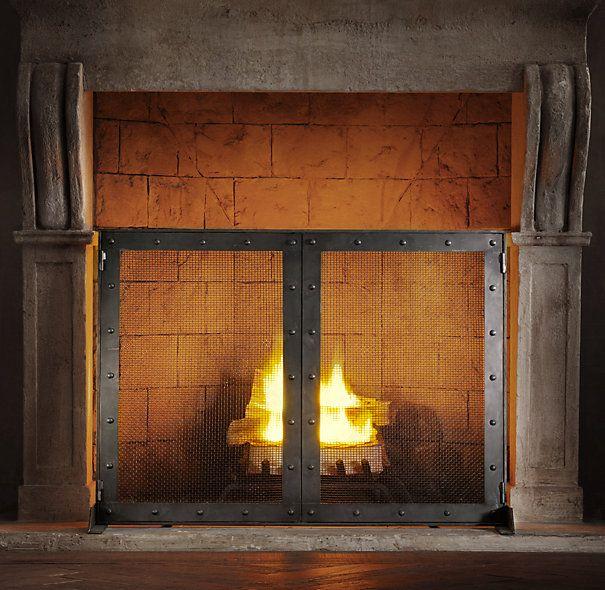 Industrial Rivet Double Door Screen Fireplace Screens With Doors