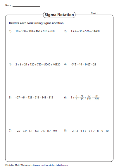 Write As Sigma Notation Whats New Pinterest Worksheets