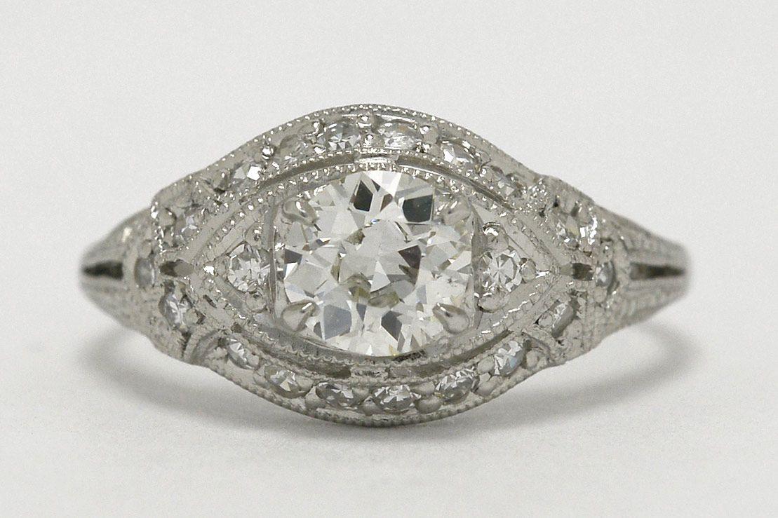 4529c401ce756 Old European Diamond Platinum Dome Eye Engagement Ring Art Deco ...