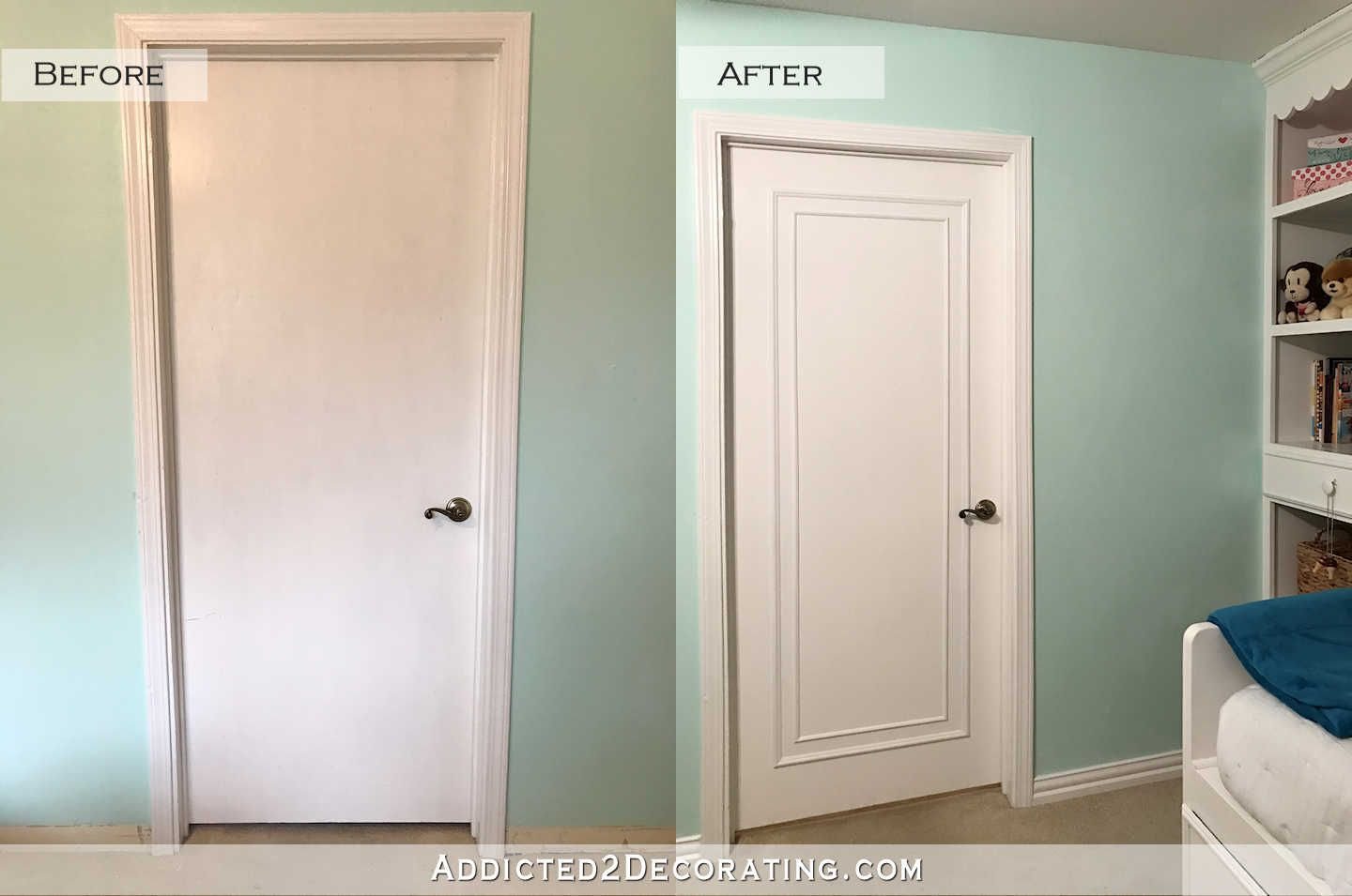 An Easy Inexpensive Way To Update Flush Flat Panel Interior Doors With Molding Addicted 2 Decorating Wood Doors Interior Doors Interior Hollow Core Doors