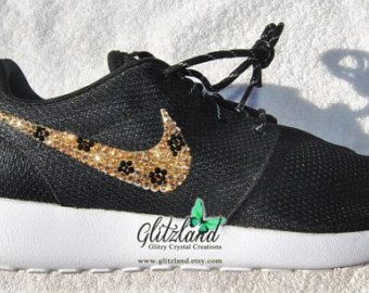 57b5be8d4085b Swarovski Nike Black  White Roshe Run Blinged with SWAROVSKI® cheetah print  Crystals