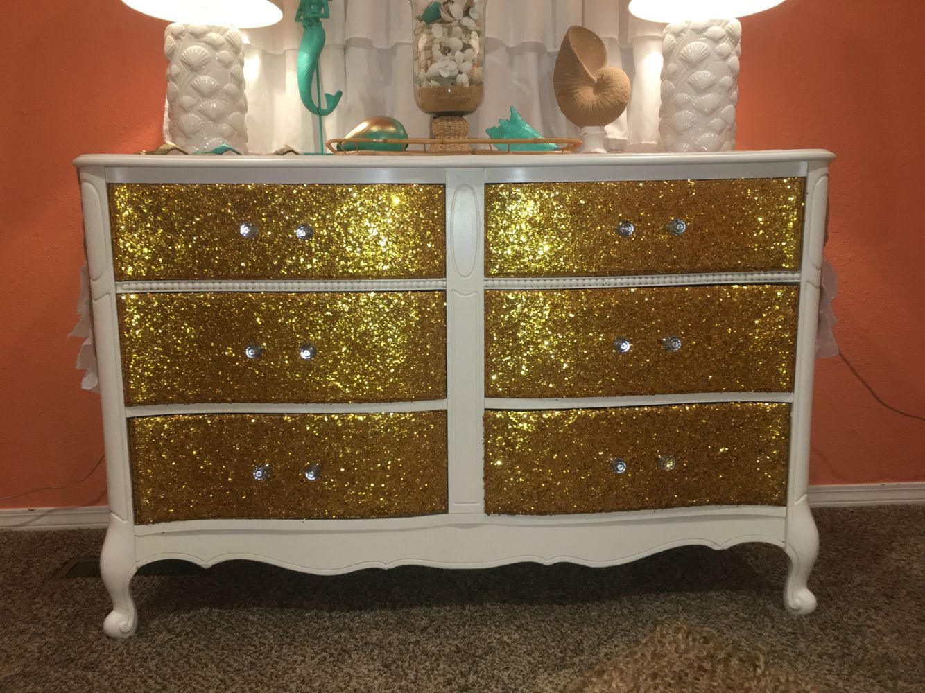 Diy projects for bedroom pinterest diy glitter dresser u  dresser redo  pinterest  dresser room and