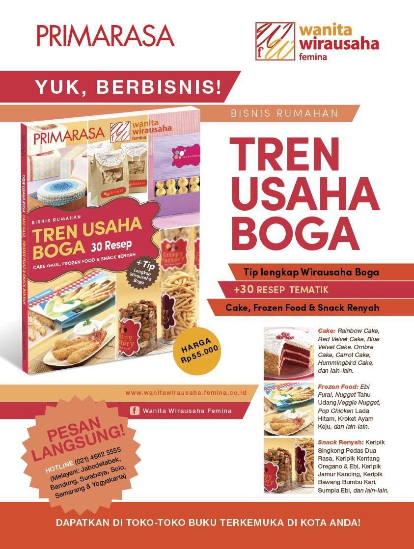 Femina Co Id Buku Tren Usaha Boga 30 Resep Cake Gaul Frozen Food Dan Snack Renyah Resep Belajar Rambut Dan Kecantikan