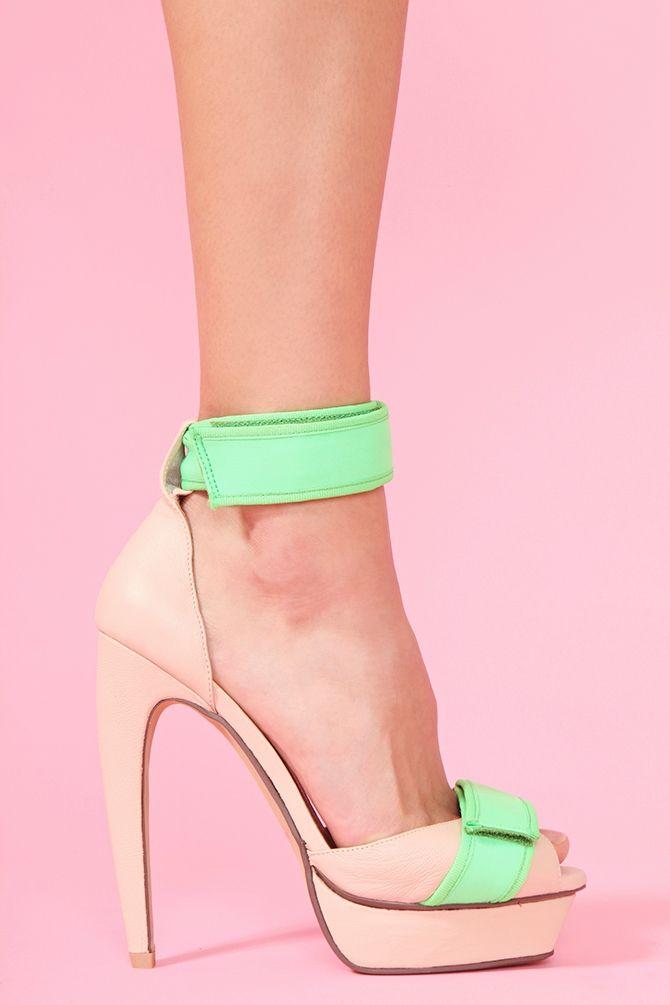 Jeffrey Campbell Nude/Neon green pumps
