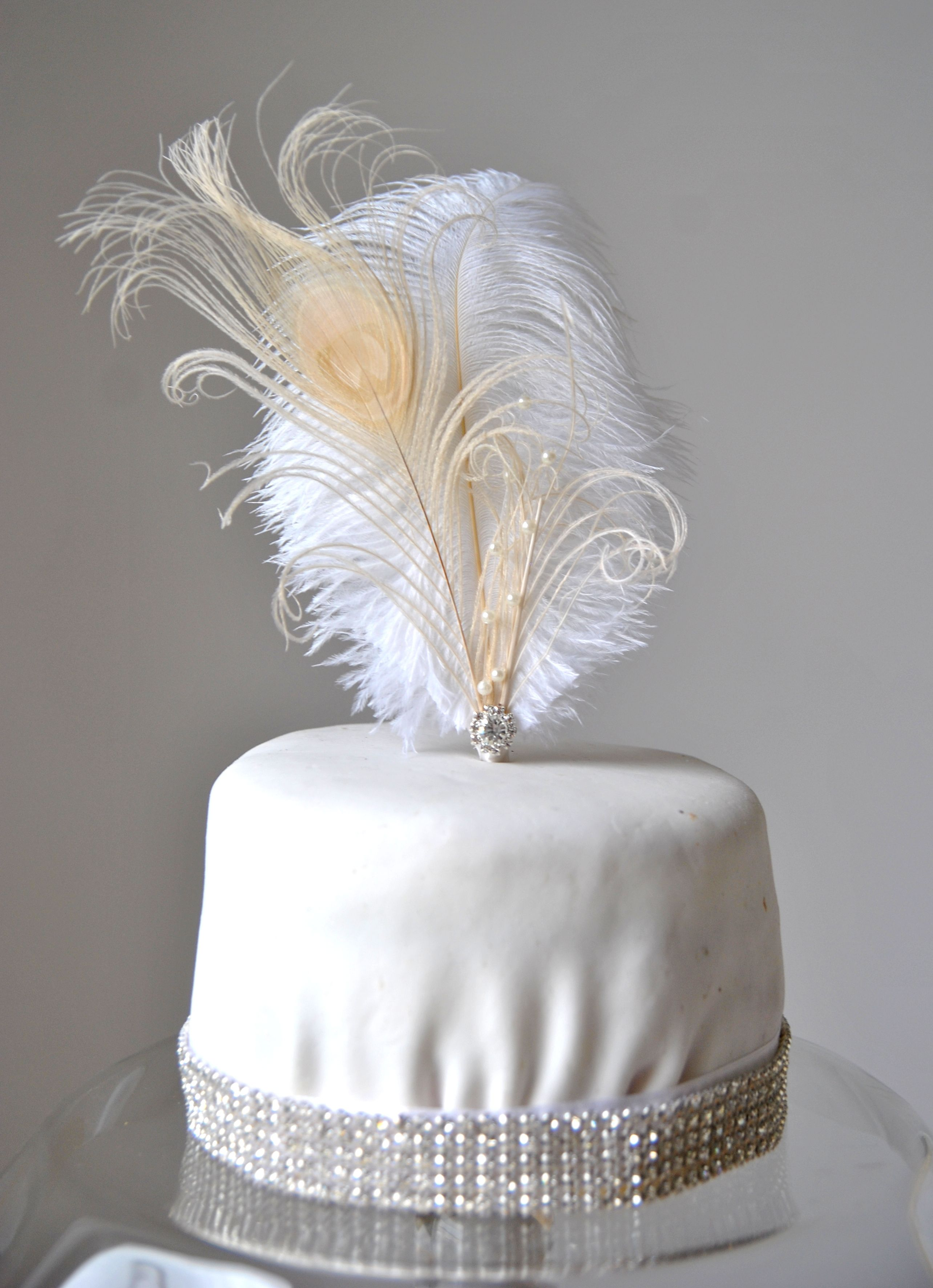 Feather Cake Topper Gatsby 1920s Customized Wedding Cake Topper ...