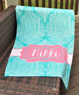 Aqua & Jade Paisley Personalized Beach Towel