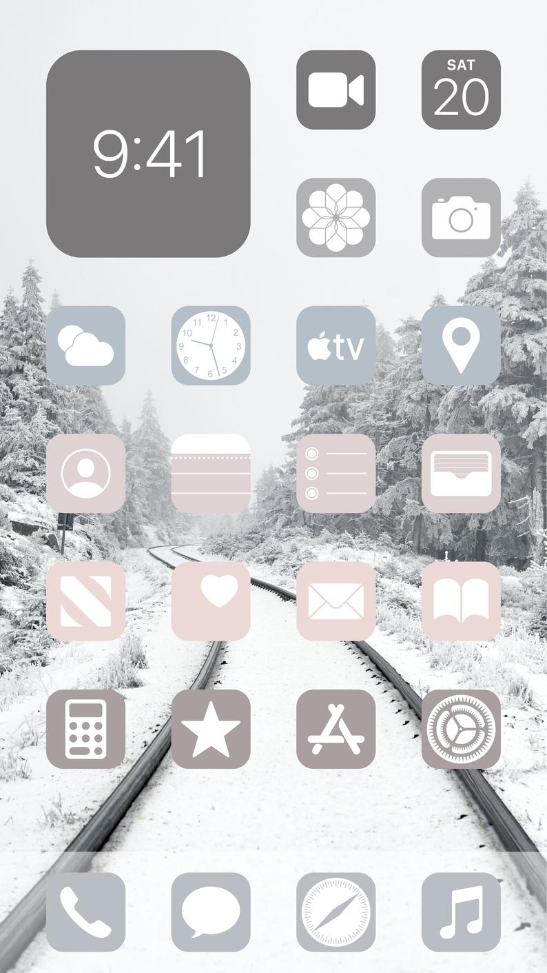 Aesthetic Winter Snow iOS 14 App Icons Pack - 72 I