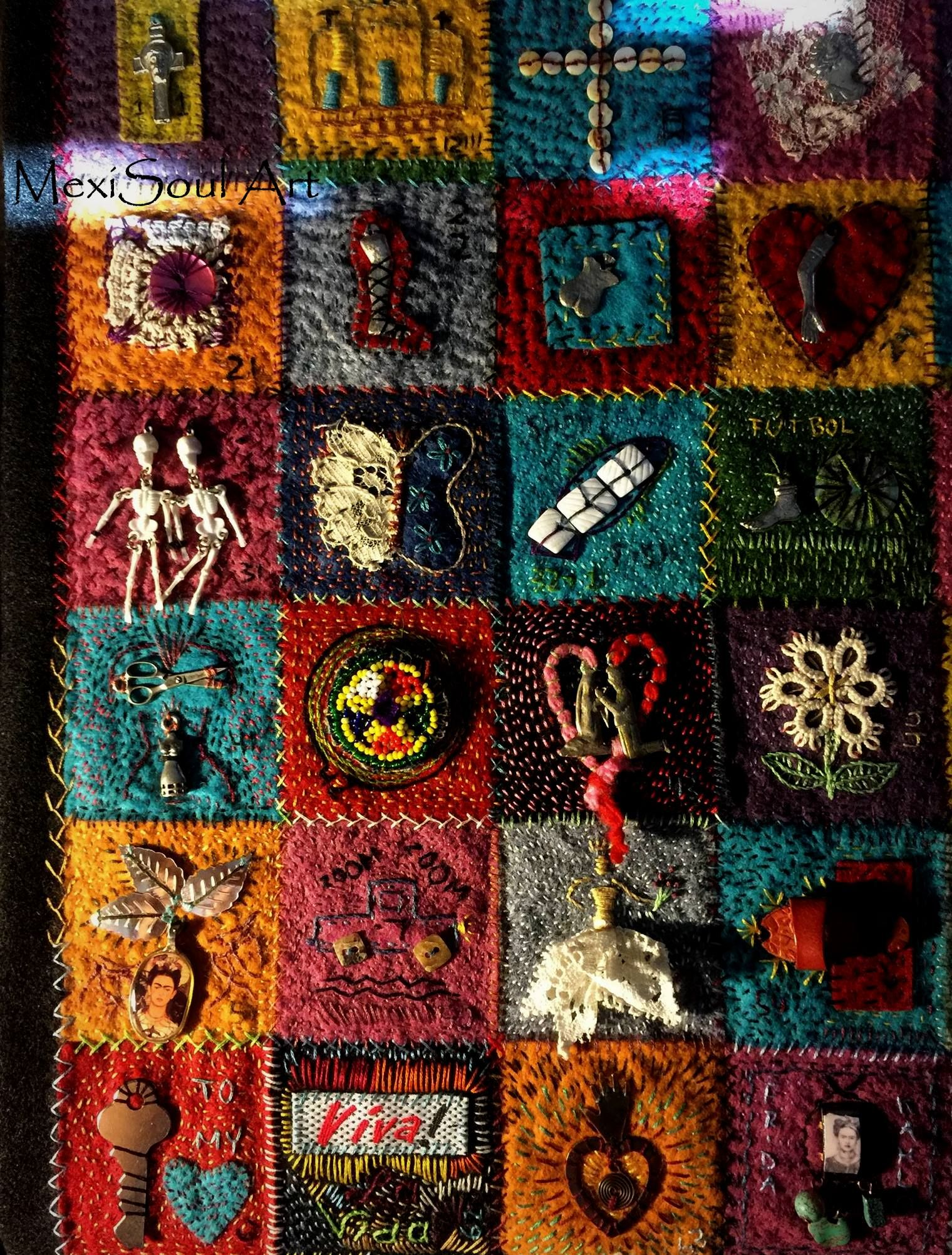 Embroidered 100 day patch quilt. Mixed Media. Artist: Diane Utley ... : mixed media quilts - Adamdwight.com