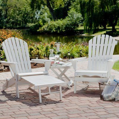 Big Daddy Adirondack Chair Set With FREE Side Table   White By Imperial  Power Co LTD