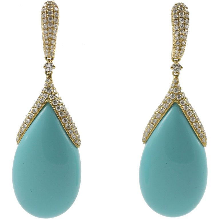Turquoise Champagne Diamond Drop Earrings