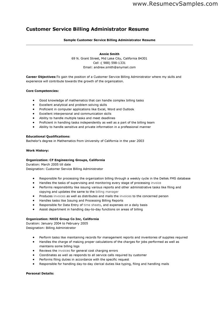 resume objectives for a phlebotomist this template for applying this customer service billing administrator resume example can help you to get an idea of what a resume should and could look like it s always useful to