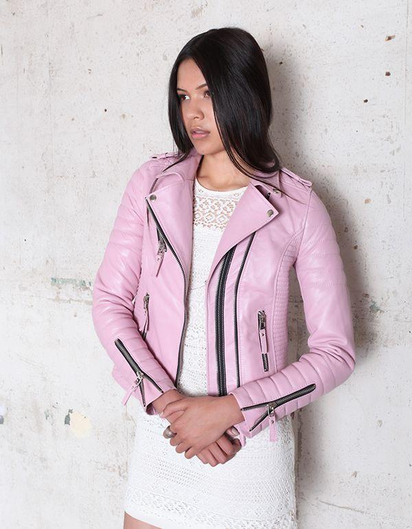 Kay Michaels Pink Shimmer Womens Quilted Biker - Boda Skins
